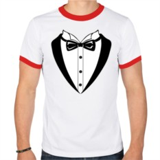 Мужская футболка-рингер Смокинг с бабочкой