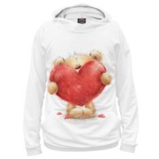 Худи Плюшевый мишка с большими красными сердцами