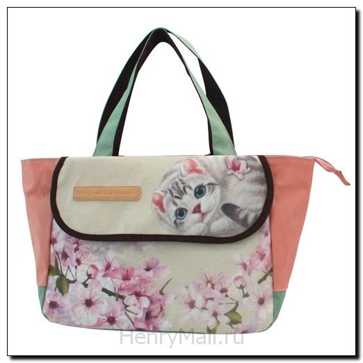 Сумка-шоппер с клапаном «Цветы вишни»