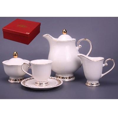 Чайный набор на 6 персон Белый с узорами