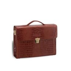 Коричневый кожаный женский деловой портфель Brialdi Blanes
