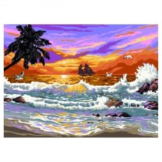 Картина-раскраска по номерам на холсте Закат на море