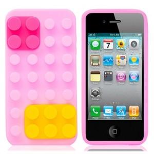 Чехол для iPhone 4/4S Конструктор (розовый)