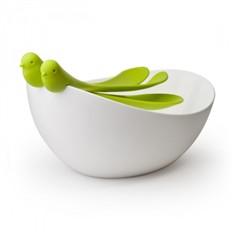 Зеленая салатница с ложками Sparrow