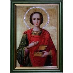 Малая икона Пантелеймон с кристаллами Swarovski