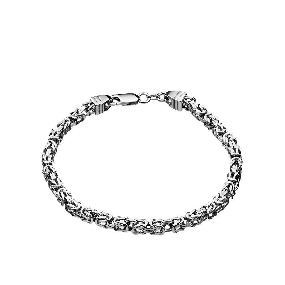 Мужской браслет из серебра, византийского плетения