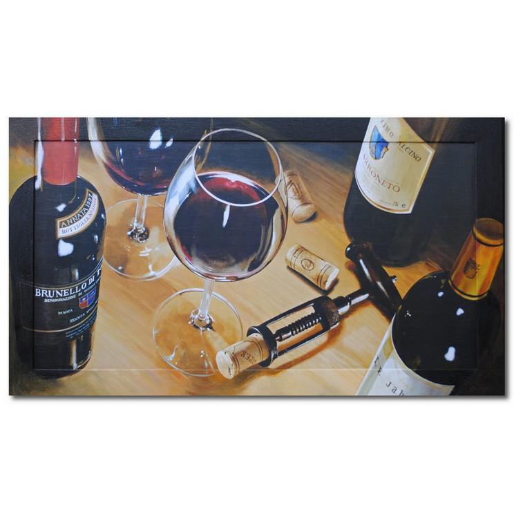 Репродукция с подрисовкой на раме Бокал, вино и штопор