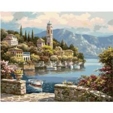 Картины по номерам «Деревенская часовая башня»