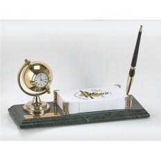 Мраморный настольный набор из ручки, часов, блок-листов