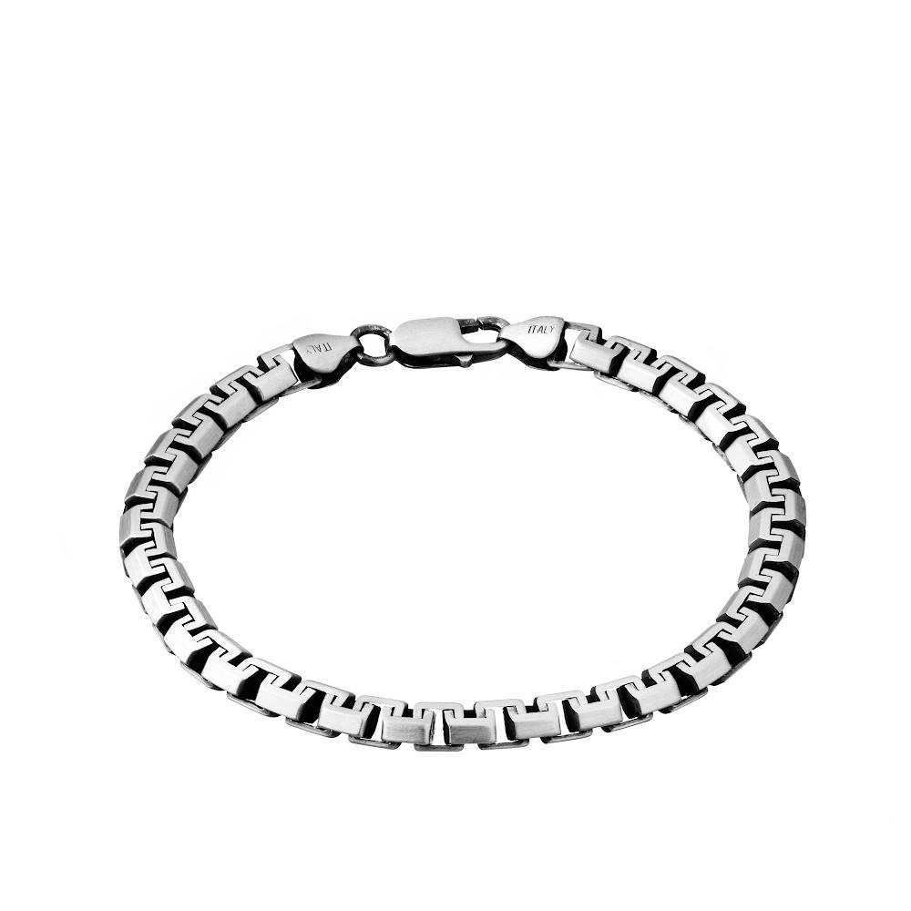 Серебряный мужской браслет, плетение «сколоченный якорь»