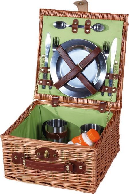 Корзина для пикника Реймс с набором посуды из нержавеющей стали