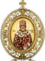Серебряная настольная икона с финифтьевым образом святителя Николая Чудотворца