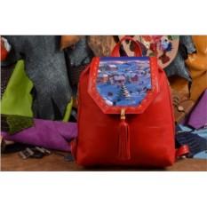 Женский красный кожаный рюкзак Заснеженный городок