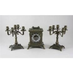 Каминные часы с 2 канделябрами