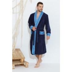 Мужской махровый халат Rock blue