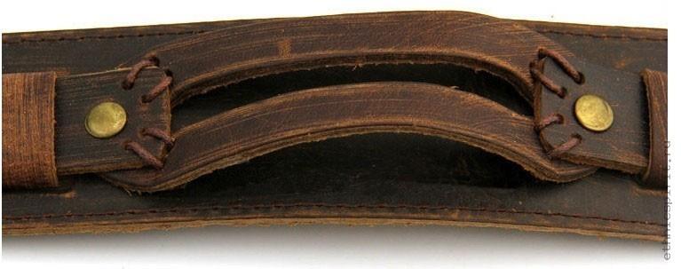 Широкий кожаный браслет с двумя пряжками