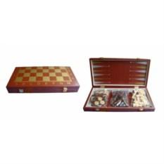 Коричневый набор настольных игр шахматы, нарды, шашки