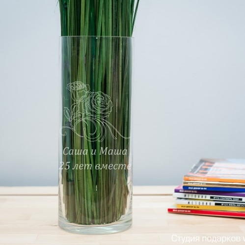 Именная ваза с гравировкой Розы 2