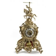 Часы из бронзы с маятником Всадник 42х25 см, золотистые