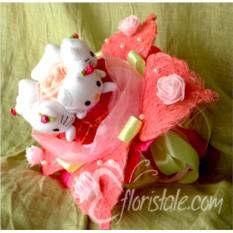 Букет из 5 котиков Hello Kitty в цветке