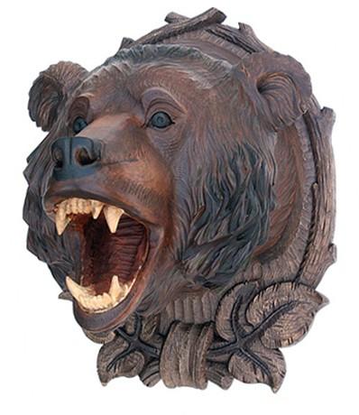 Настенная скульптура Голова медведя