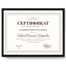 Именной сертификат «Лучший в мире начальник»