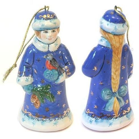 Елочная игрушка «Снегурочка со снегирём»