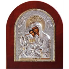 Серебряная милующая икона Божьей Матери Достойно есть