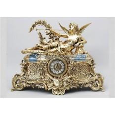 Часы из бронзы Муза, цвет золотой