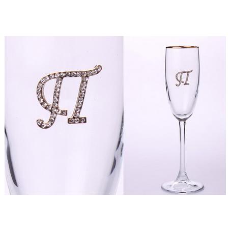 Бокал для шампанского «П» с золотой каймой