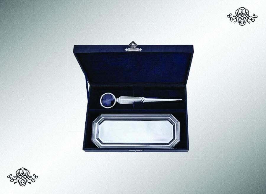 Серебряный набор для писем с подносом для ручек Элегант из 2 предметов