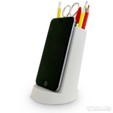 Органайзер для канцелярии с подставкой для телефона (графит)