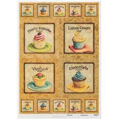 Рисовая карта для декупажа Пирожные со взбитыми сливками