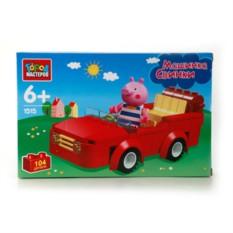 Пластмассовый конструктор Машинка Свинки Peppa  с фигуркой