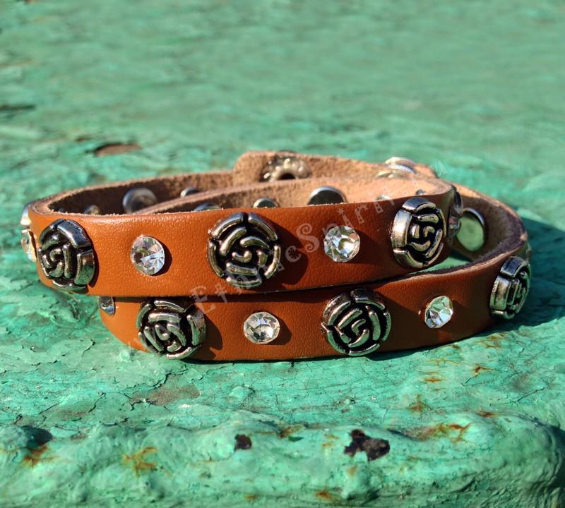 Кожаный браслет Коричневая роза Swarovski