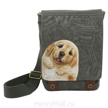 Женская сумка-планшет с щенком Денни