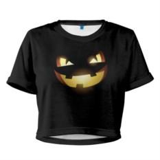 Женская укороченная футболка Happy Halloween