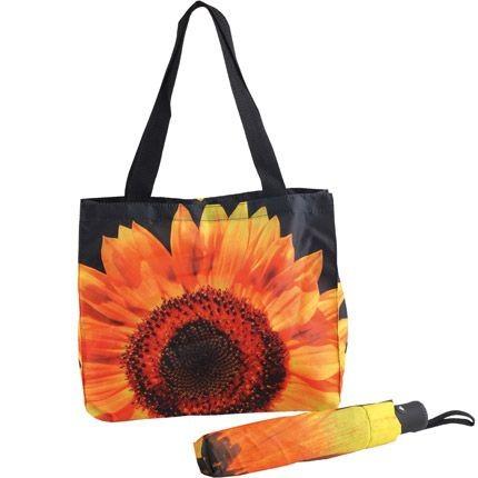 Подарочный набор из сумки и складного зонта Подсолнух