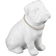 Копилка Белая собака с ошейником (высота 18 см)