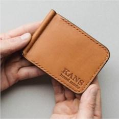 Оранжевый зажим для денег из натуральной кожи