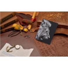 Кожаная обложка для документов Морда льва
