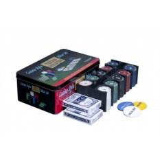 Набор для покера из 200 фишек в жестяной коробке