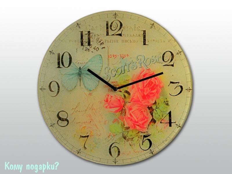 Часы настенные с рисунком «Бабочка и розы»