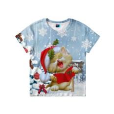 Детская футболка Новогодний котёнок