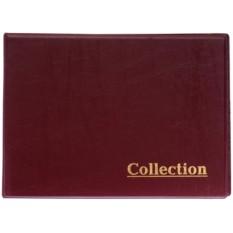 Красный альбом на кольцах для монет с 10 листами по 12 ячеек