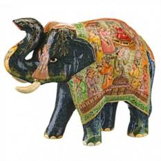 Фигурка Индийский чёрный слон с расписным покрывалом