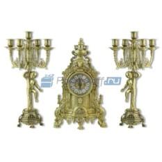 Каминные часы и 2 канделябра на 5 свечей Купидон