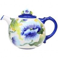 Керамический заварочный чайник «Голубые маки»