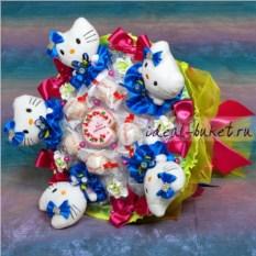 Букет из мягких игрушек и конфет с надписью Hello Kitty
