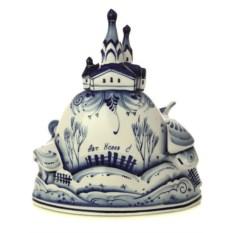 Часы с художественной росписью гжель Кремль